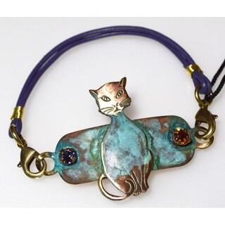 Handmade Olive Patina 70's Stylized Cat Rockband - Crystals (USA)