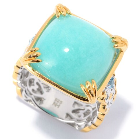 Michael Valitutti Palladium Silver Amazonite & Swiss Blue Topaz Cocktail Ring