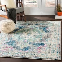 "Mirvet Teal & Navy Vintage Distressed Medallion Area Rug - 7'10"" x 10'3"""