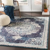 "Aicha Navy & Teal Vintage Distressed Medallion Area Rug - 7'10"" x 10'3"""
