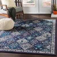 "Besma Navy & Gray Traditional Medallion Area Rug - 7'10"" x 10'3"""