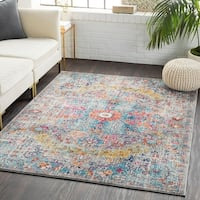 Caressa Gray & Teal Distressed Bohemian Medallion Area Rug  - 2' x 3'
