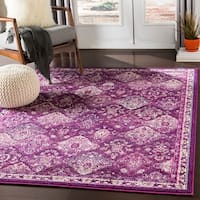 Besma Fuchsia Traditional Medallion Area Rug - 2' X 3'