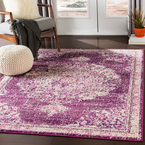Aicha Fuchsia Vintage Distressed Medallion Area Rug - 2' X 3'