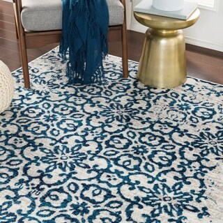 Tours Blue & Gray Distressed Damask Area Rug - 5'3 x 7'3