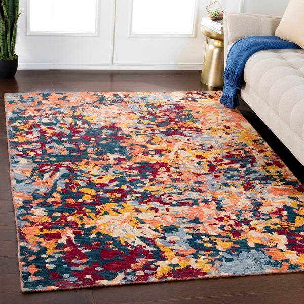 Samuel Bright Orange Multicolor Contemporary Wool Blend Area Rug
