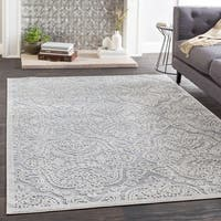 Lillie Gray Damask Chenille Area Rug - 6'6 x 9'6