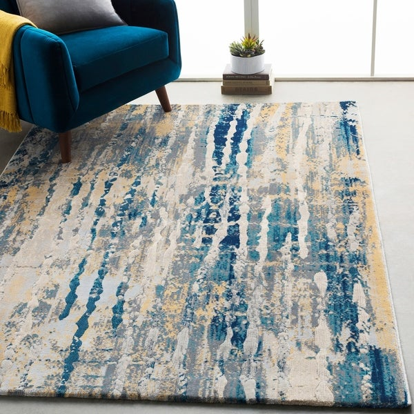"Monae Navy & Yellow Abstract Area Rug - 5'3"" x 7'6"""