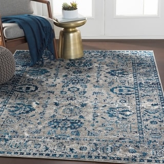"Reimes Blue & Gray Distressed Traditional Area Rug - 5'3"" x 7'3"""