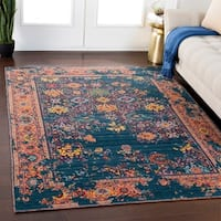 Clarence Teal Traditional Wool Blend Area Rug - 8' x 11'