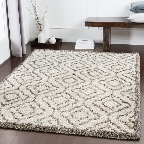 "Bette Ivory Moroccan Trellis Shag Area Rug - 9'3"" x 12'3"""