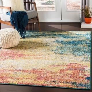 "Hafida Bright Yellow & Teal Contemporary Abstract Area Rug - 5'3"" x 7'3"""