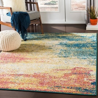 Hafida Bright Yellow & Teal Contemporary Abstract Area Rug - 5'3 x 7'3