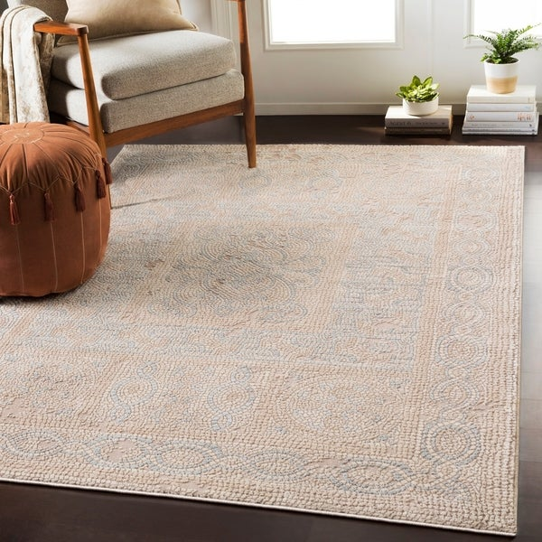 """Lucca Beige Distressed Mosaic Area Rug - 6'7"""" x 9'6"""""""
