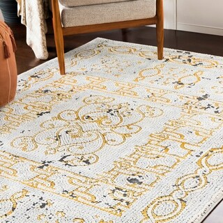 """Lucca Yellow & Gray Distressed Mosaic Area Rug (9'3"""" x 12'3"""") - 9'3"""" x 12'3"""""""