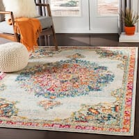 "Aicha Blue & Orange Traditional Medallion Area Rug - 6'7"" x 9'"