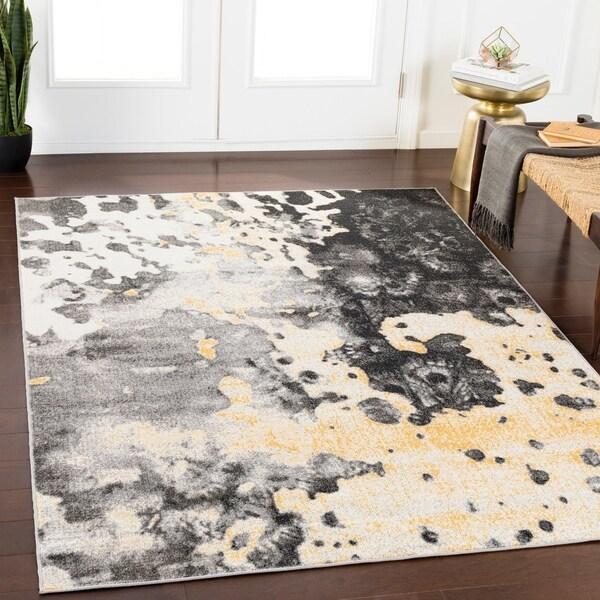 """Rhea Grey Abstract Area Rug (7'10"""" x 10'3"""") - 7'10"""" x 10'3"""""""