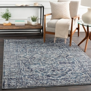 "Abbas Navy & Gray Vintage Traditional Area Rug - 7'10"" x 10'3"""