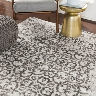 "Tours Light Gray Distressed Damask Area Rug - 7'10"" x 10'3"""