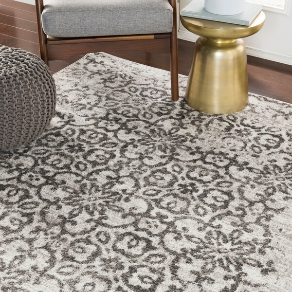 """Tours Light Gray Distressed Damask Area Rug - 7'10"""" x 10'3"""""""