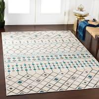 "Halle White Geometric Moroccan Area Rug (7'10"" x 10'3"") - 7'10 x 10'3"