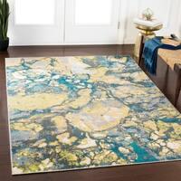 """Andi Teal & Lime Abstract Area Rug (7'10"""" x 10'3"""") - 7'10 x 10'3"""