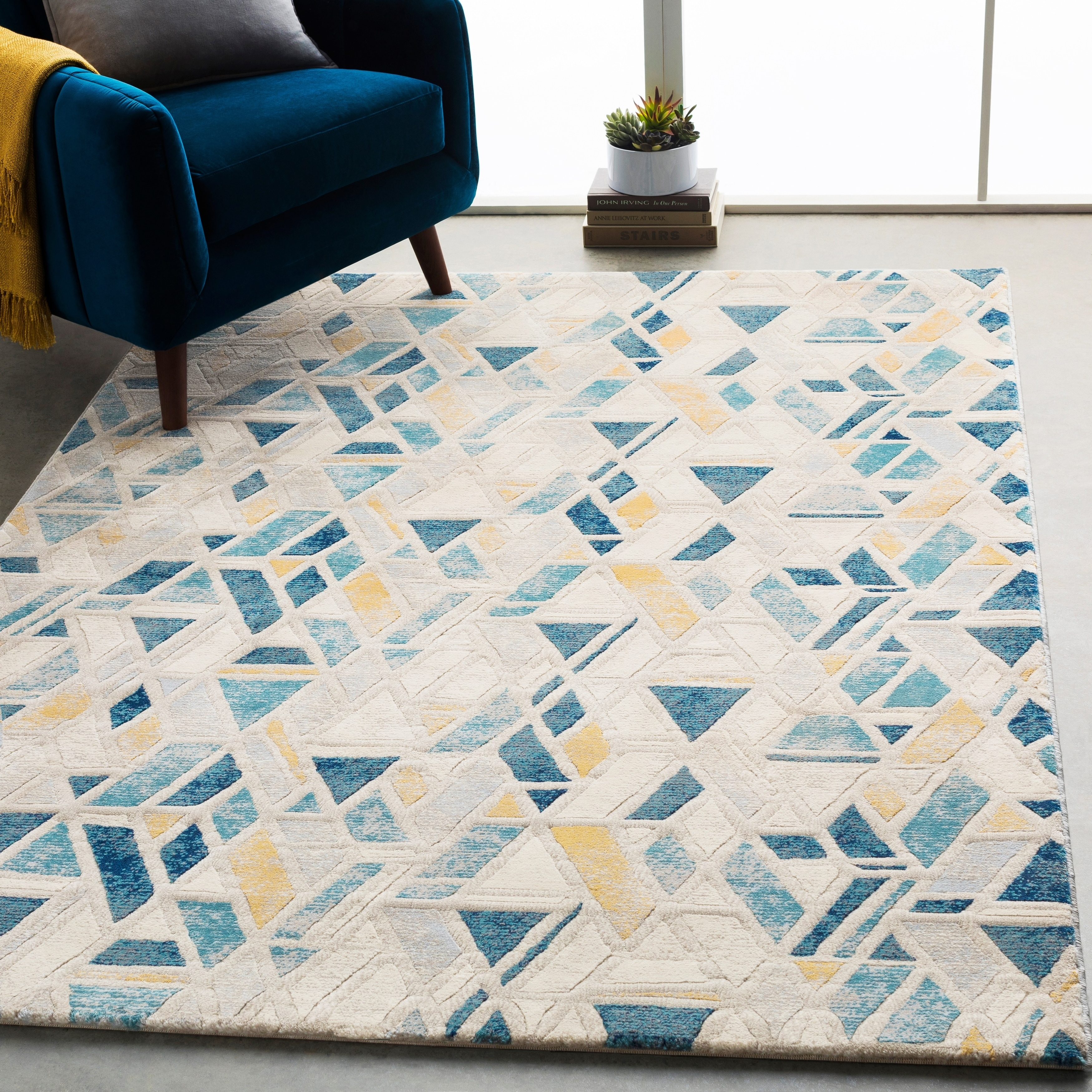 Picture of: Monae Teal Yellow Mid Century Geometric Area Rug 7 10 X 10 3 7 10 X 10 3 Overstock 21722260