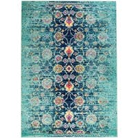 """Rug and Decor - Casba Collection- Teal Distressed Traditional Area Rug - 9'2"""" x 12'1"""""""