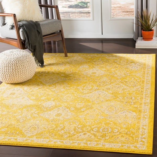 "Besma Saffron Traditional Medallion Area Rug - 7'10"" x 10'3"""