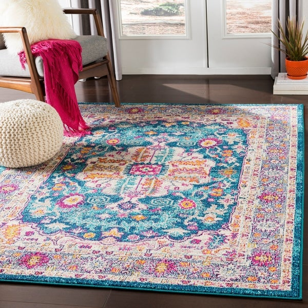 Shop Mourad Teal Amp Fuchsia Traditional Oriental Area Rug