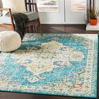 Chahira Teal Vintage Distressed Medallion Area Rug - 7'10 x 10'3