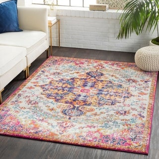Caressa Navy Distressed Bohemian Medallion Area Rug  - 2' x 3'