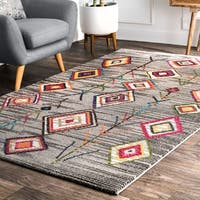 nuLOOM Gray Contemporary Boho Chic Playful Aztec Area Rug - 5' x 8'