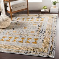 Padua Yellow & Gray Distressed Mosaic Area Rug - 2' x 3'