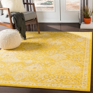Besma Saffron Traditional Medallion Area Rug - 2' x 3'