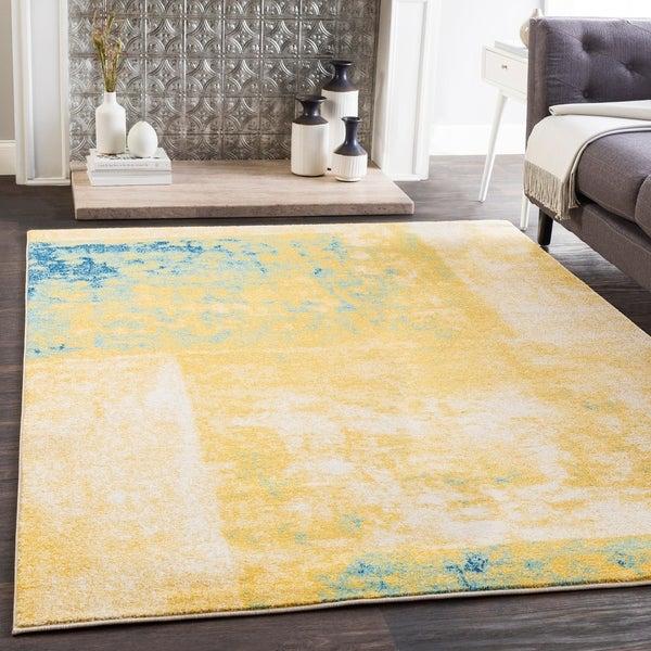 Shop Talia Yellow & Teal Modern Block Print Area Rug