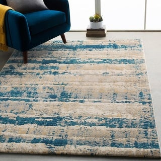 """Monae Teal & Gray Abstract Stripes Area Rug - 5'3"""" x 7'6"""""""
