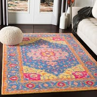 Shipra Pink & Yellow Traditional Medallion Wool Area Rug - 5'1 x 7'6