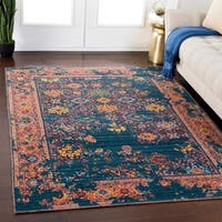 """Clarence Teal Traditional Wool Blend Area Rug - 5'3"""" x 7'6"""""""