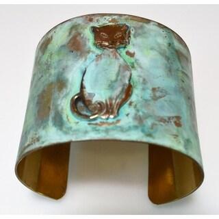 Olive Patina Solid Brass 70s Stylized Cat Wide Cuff Bracelet