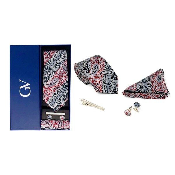 T119 NEW men silk ties /& handkerchief pocket square Tie set pink orange paisley