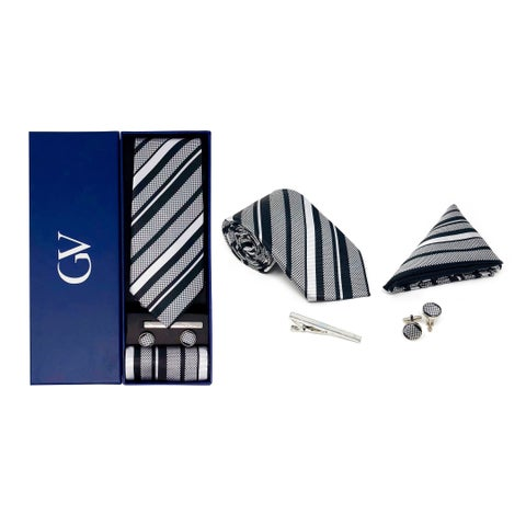 Gino Vitale Men's 100% Silk 4 Piece Tie Set