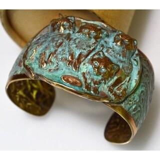 Handmade Verdigris Patina Solid Brass Cats Graduated Cuff (USA)