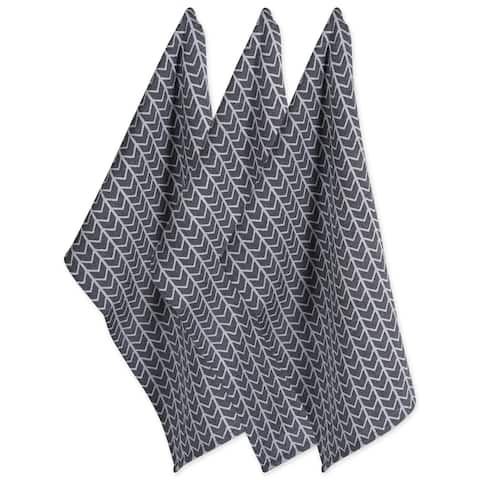Design Imports Black & White Dishtowel Set of 3 (28 inches long x 18 inches wide)