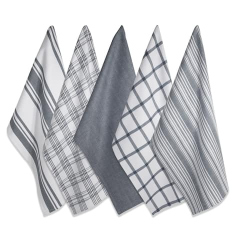 Design Imports Assorted Woven Dishtowel Set of 5 (28 inches long x 18 inches wide)