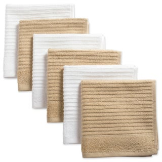 Design Imports Assorted Ribbed Terry Dishcloth Set of 6 (12 inches long x 12 inches wide) (Option: Pebble)