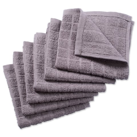 Design Imports Solid Windowpane Terry Dishcloth Set of 6 (12 inches long x 12 inches wide)