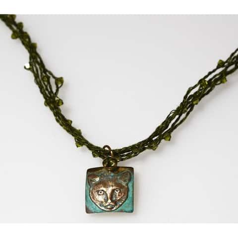 Handmade Olive Patina Cat Necklace
