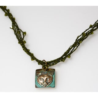 Handmade Olive Patina Cat Necklace - Crystal Cording (USA)
