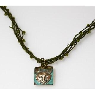 Handmade Olive Patina Cat Necklace - Crystal Cording (USA)